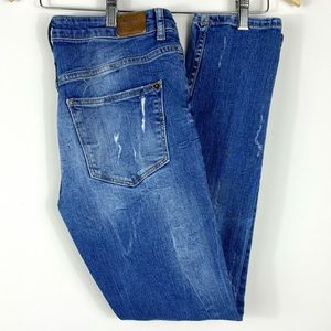 BERSHKA High Rise Blue Distressed Ankle Jeans